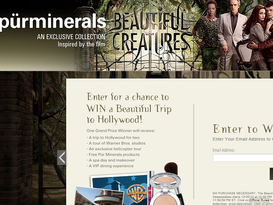 Pur Minerals Beautiful Trip to Hollywood Sweepstakes