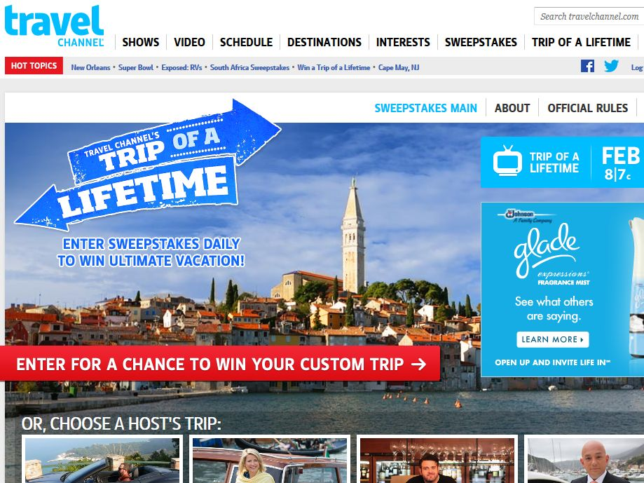 Travel Channel's Trip of a Lifetime Sweepstakes