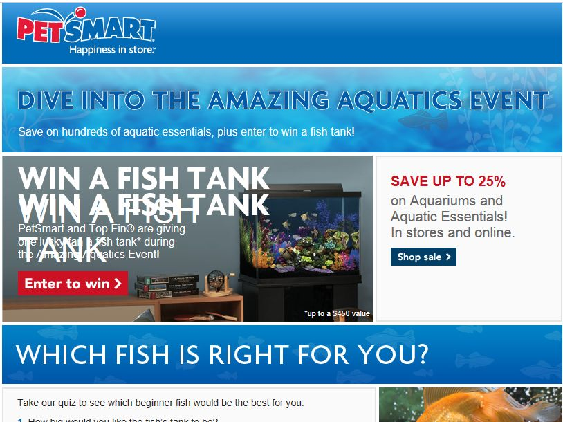 PetSmart Amazing Aquatics Sweepstakes