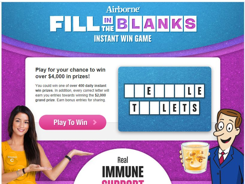 Airborne Fill in the Blanks Instant Win Game and Sweepstakes