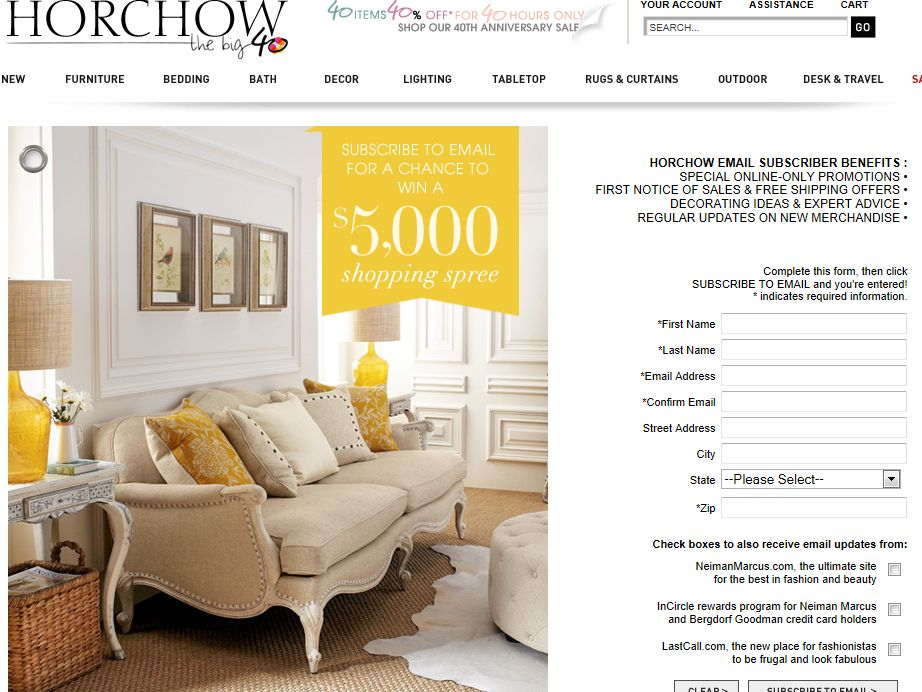 Horchow $5000 Shopping Spree Sweepstakes