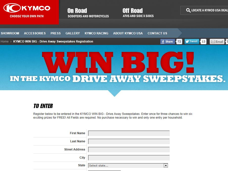 Win Big In The KYMCO Drive Away Sweepstakes