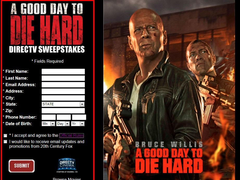 A Good Day To Die Hard DIRECTV Sweepstakes