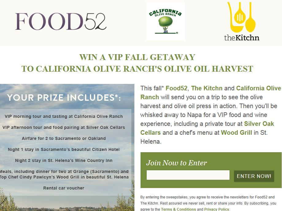 Food52 VIP Fall Getaway to California Olive Ranch's Olive Oil Harvest Sweepstakes