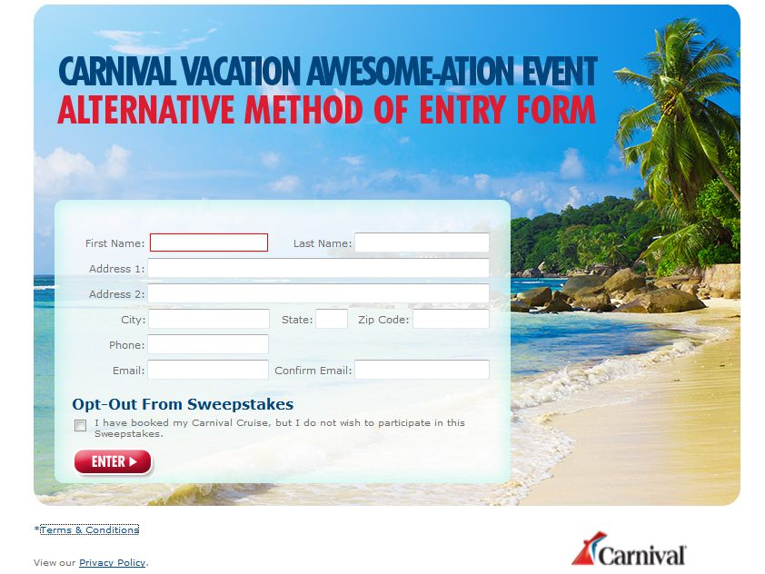 Carnival Vacation Awesome-ation Event Sweepstakes