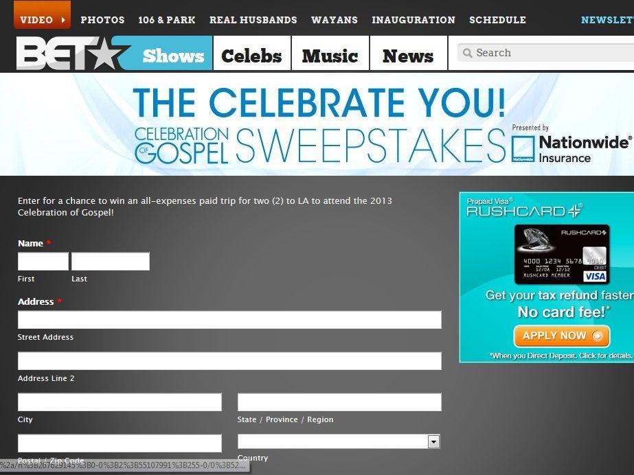 BET! Celebrate You! Celebration of Gospel Sweepstakes
