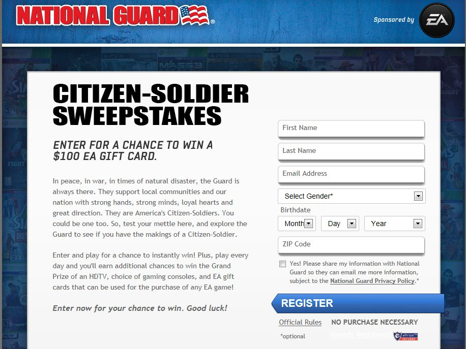 National Guard Citizen Soldier Sweepstakes