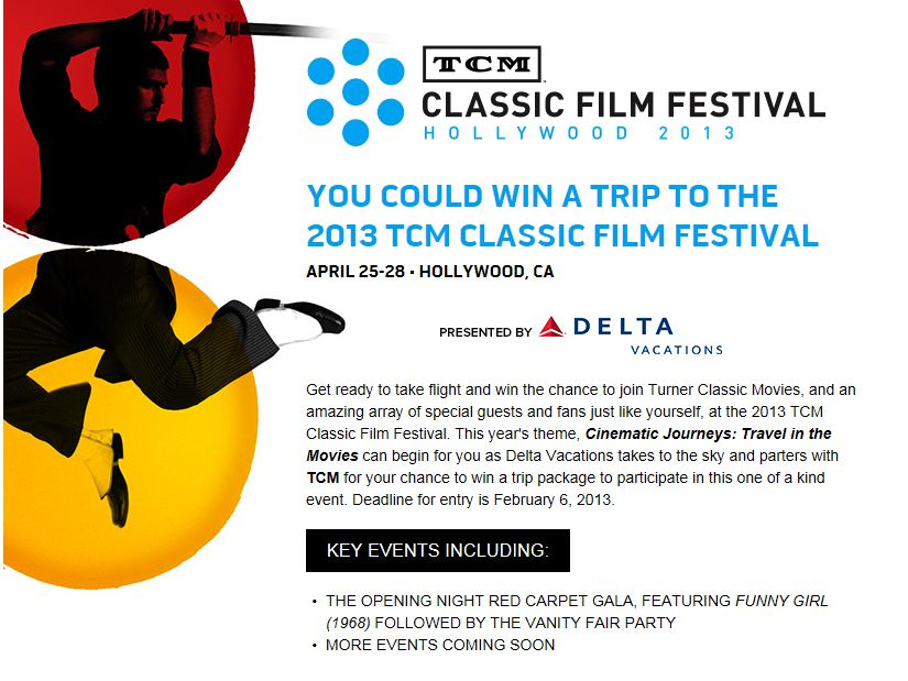 TCM/Delta Vacations Film Festival Sweepstakes