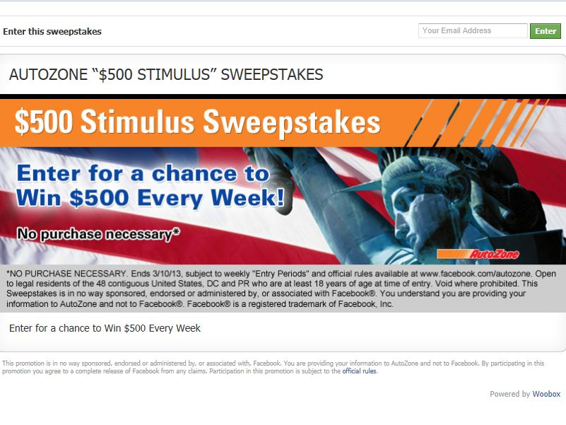 AutoZone $500 Stimulus Sweepstakes