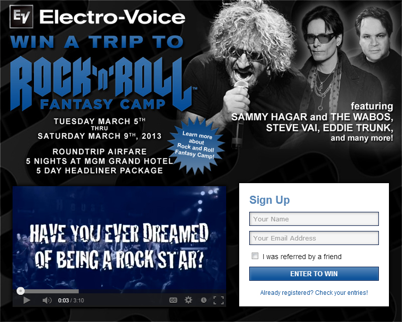 5 day trip to Vegas and 5 day headliner package at Rock N' Roll Fantasy Camp! (worth $12,000)
