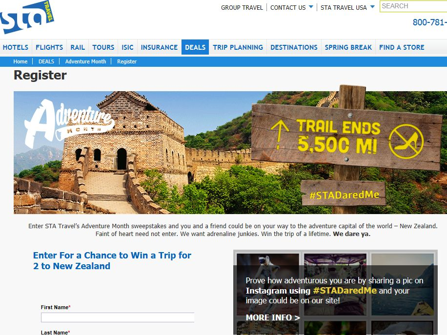 STA Travel Adventure Month Sweepstakes
