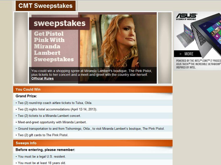 Get Pistol Pink with Miranda Lambert Sweepstakes