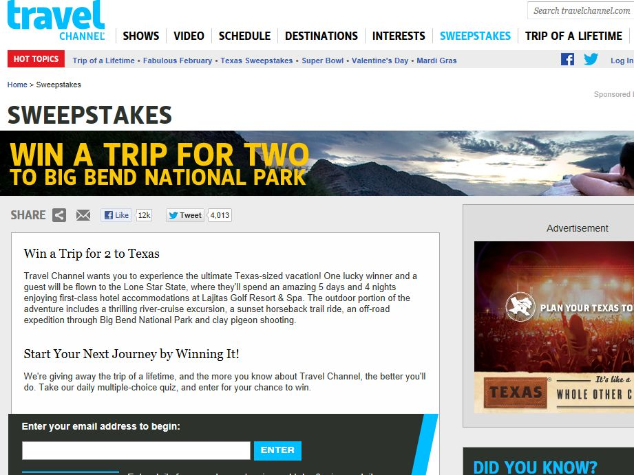 Travel Channel February 2013 Sweepstakes