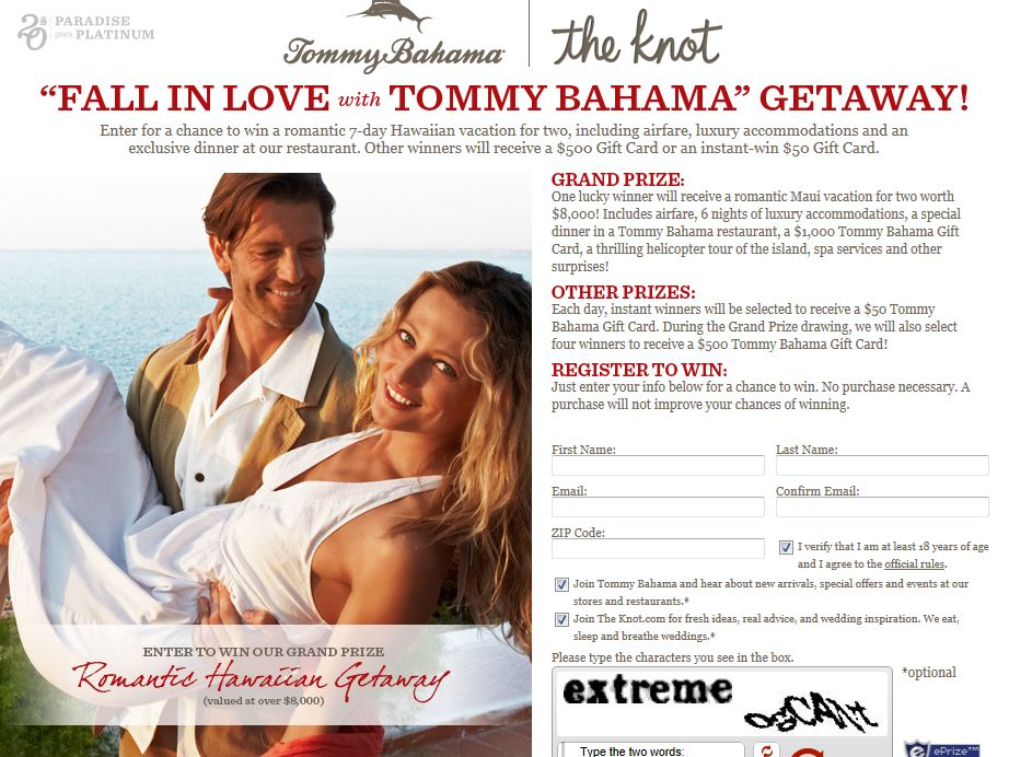Tommy Bahama Valentine's Day Sweepstakes