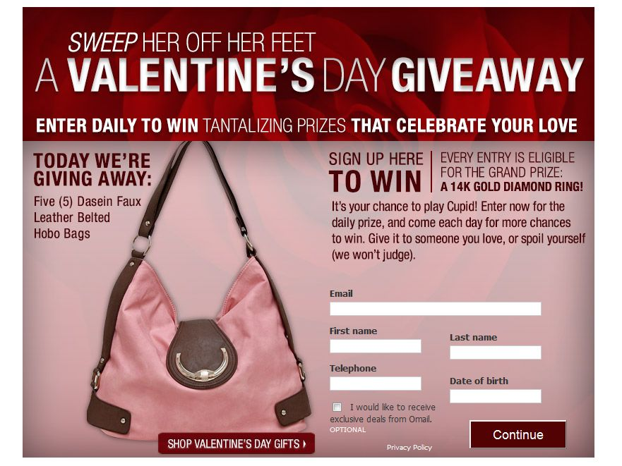 Sweep Her Off Her Feet – A Valentine's Day Giveaway Sweepstakes