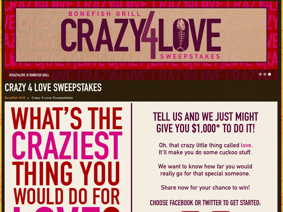 Bonefish Grill Crazy for Love Sweepstakes