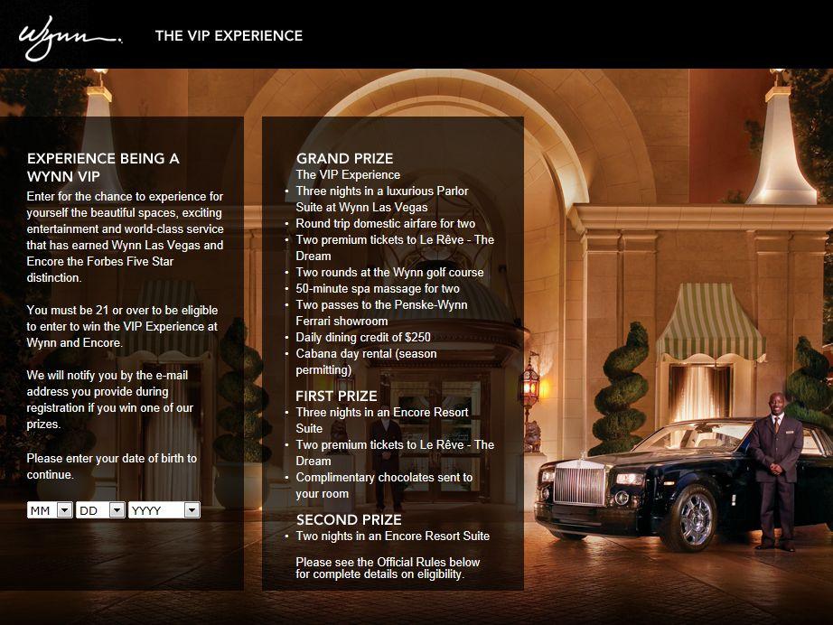 Wynn VIP Experience Sweepstakes