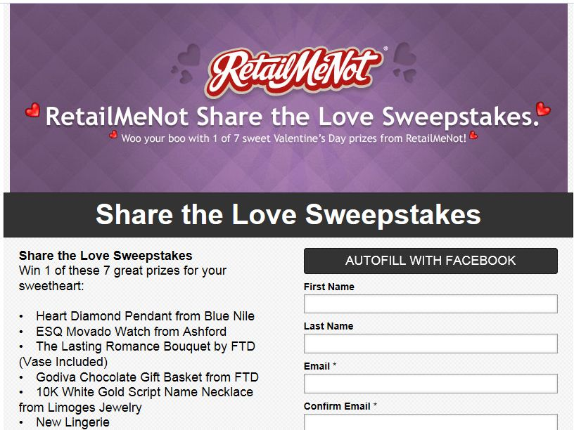 RetailMeNot Valentine's Day Giveaway Sweepstakes