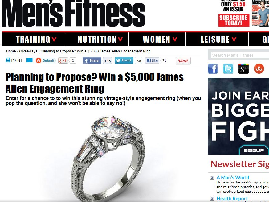 MEN'S FITNESS Win A Diamond Engagement Ring Sweepstakes