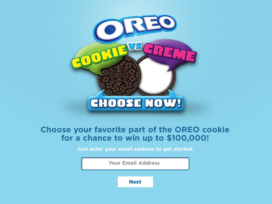 OREO Cookie vs. Creme Text to Win Instant Win Game and Sweepstakes