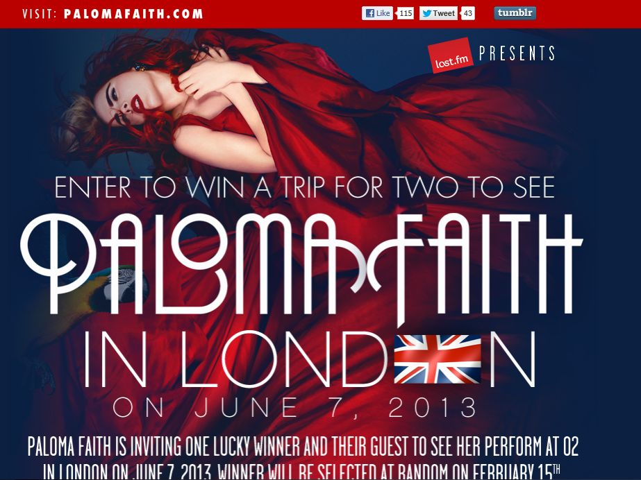 Paloma Faith London Flyaway Sweepstakes