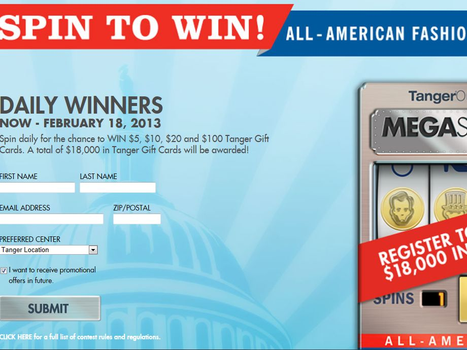 Tanger Outlets 3 Spins to Win Sweepstakes