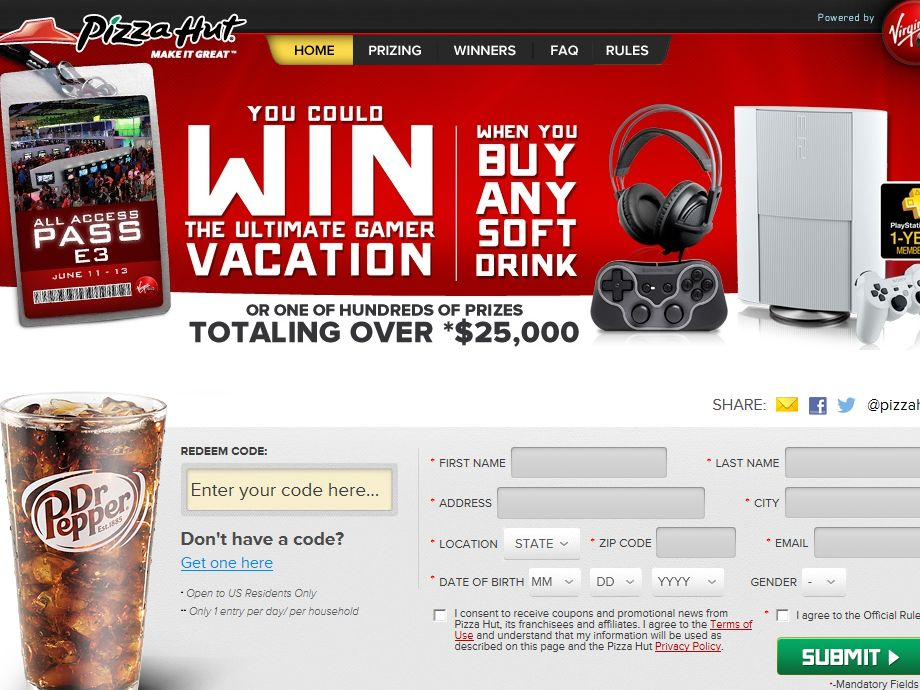2013 Dr Pepper Pizza Hut Virgin Gaming Sweepstakes (Code)
