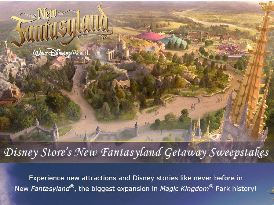 Disney Store's New Fantasyland Getaway Sweepstakes
