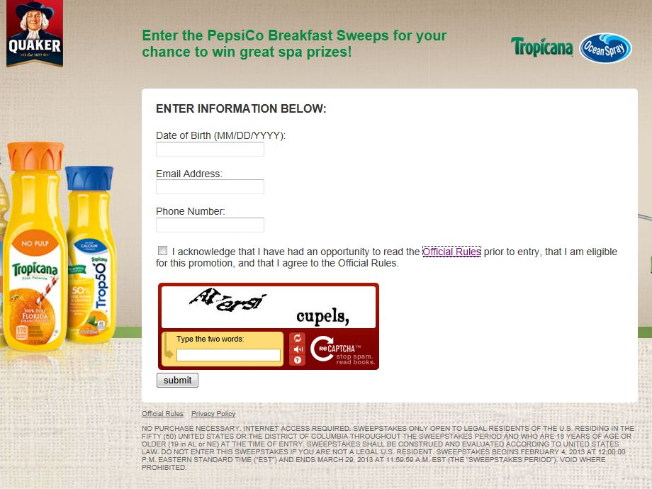 Pepsico Breakfast Promotion Sweepstakes