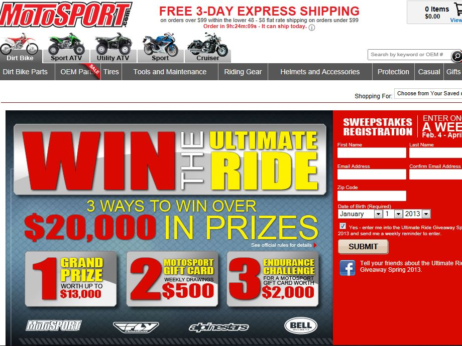MotoSport Ultimate Ride Giveaway Sweepstakes