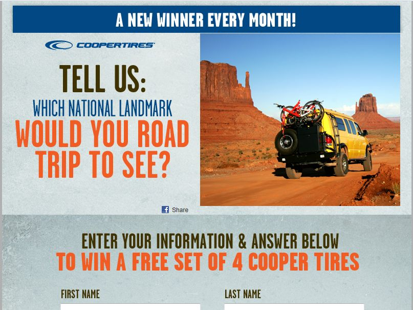 Cooper Tires Life's a Road Trip Sweepstakes
