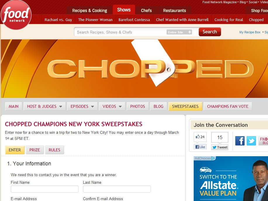 Chopped Champions New York Sweepstakes