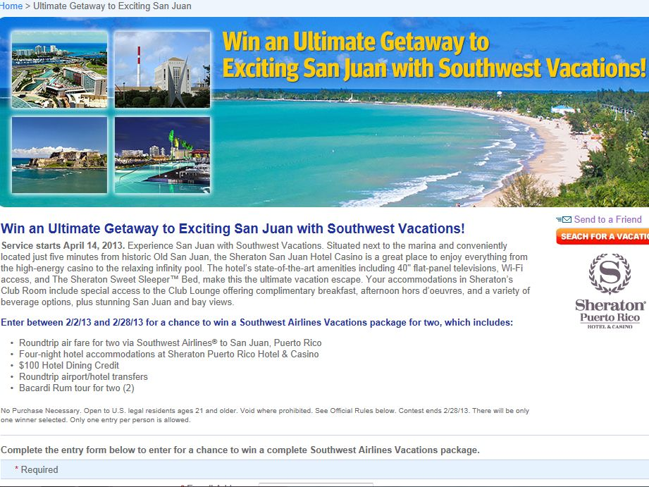 Win a Giveaway from Southwest Airlines Vacations Sweepstakes