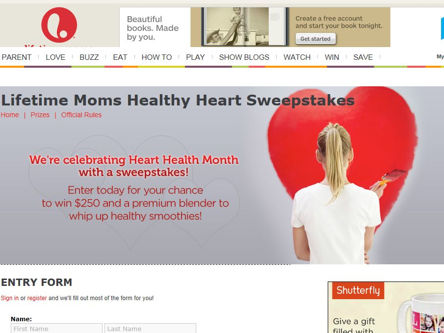 Lifetime Moms Healthy Heart Sweepstakes