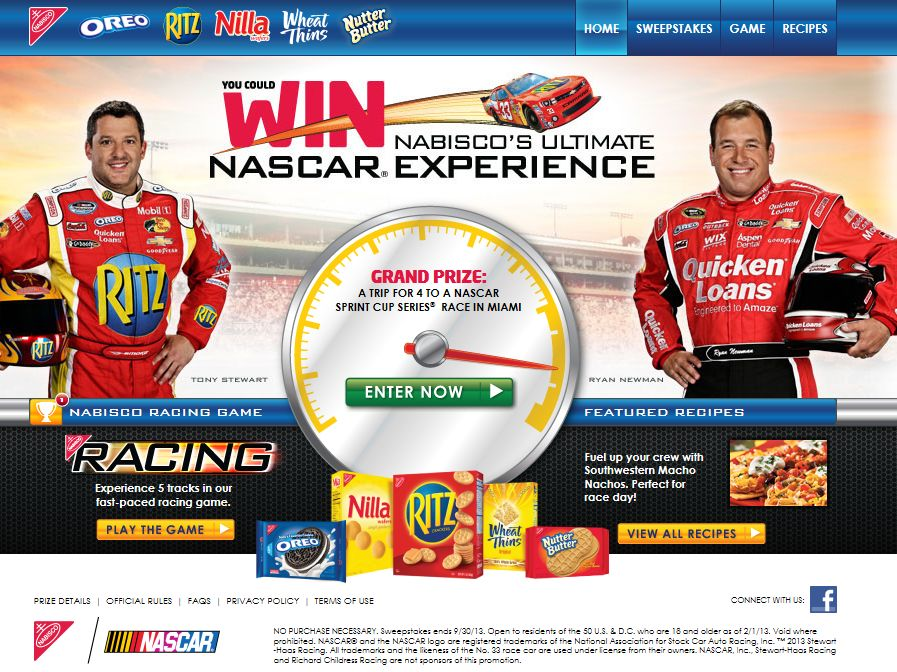 You Could Win Nabisco's Ultimate Nascar Experience Sweepstakes