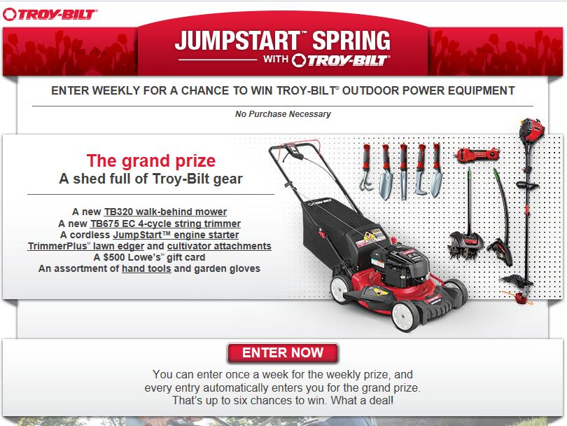 JumpStart' Spring with Troy-Bilt Sweepstakes