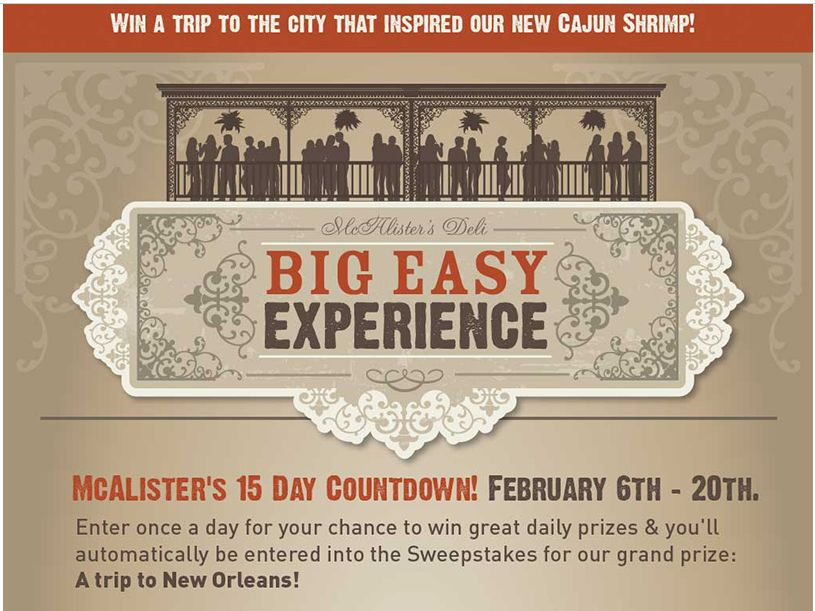 McAlister's Deli Big Easy Experience Sweepstakes