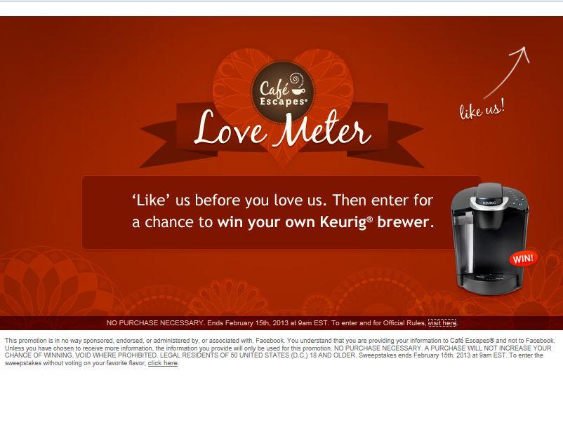 Café Escapes Love Meter Sweepstakes