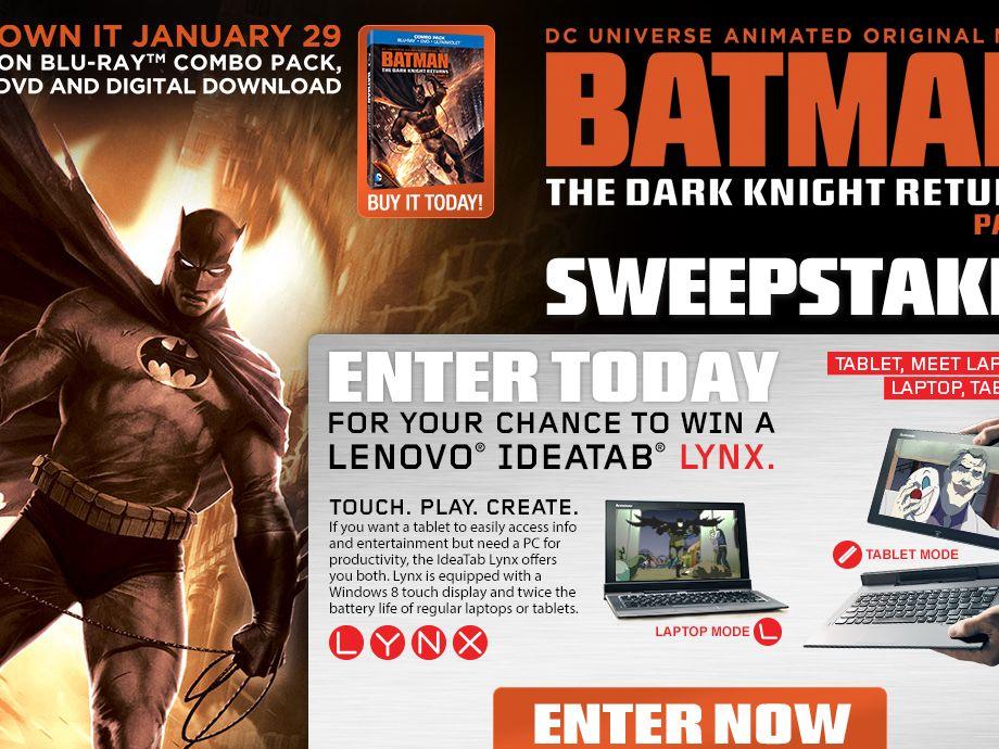 BATMAN: THE DARK KNIGHT RETURNS, Part 2 Sweepstakes