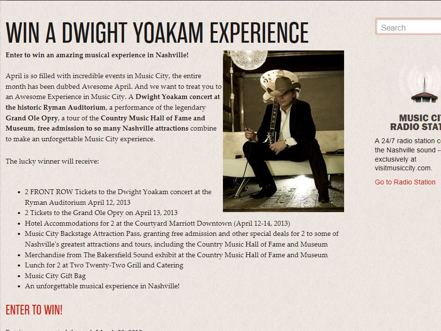 Win a Dwight Yoakam Experience Sweepstakes