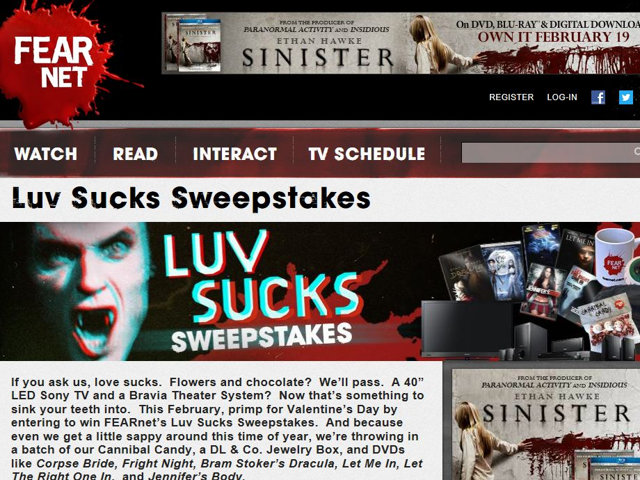 FEARnet's Luv Sucks Sweepstakes