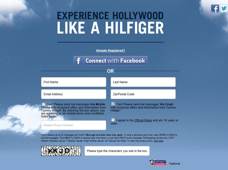 Experience Hollywood like a Hilfiger Sweepstakes