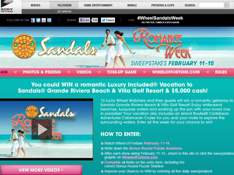 Wheel of Fortune Sandals Resorts Romance Week Sweepstakes