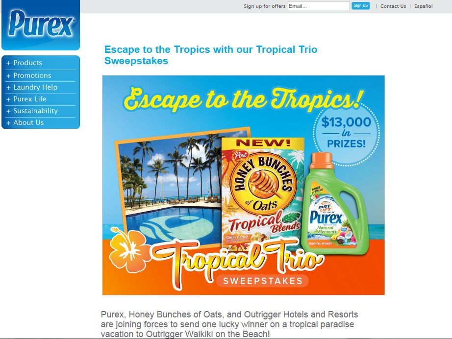 Purex Natural Elements Tropical Trio Sweepstakes