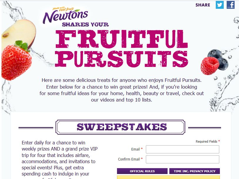 Fruitful Pursuits Sweepstakes