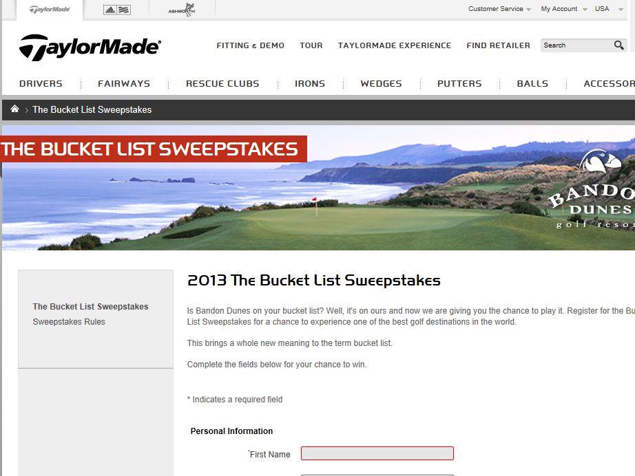 TaylorMade Bucket List Sweepstakes