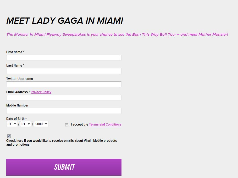 Virgin Mobile and Samsung Monster in Miami Sweepstakes