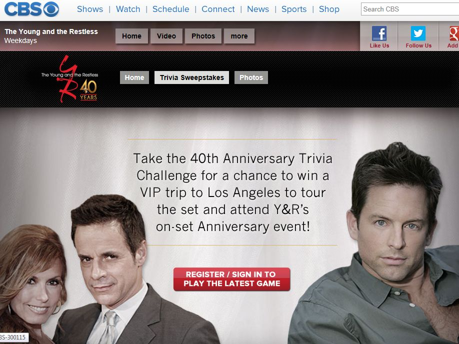 Young & the Restless 40th Anniversary Sweepstakes