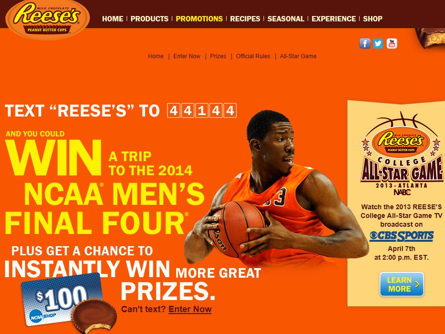 Reese's/NCAA March Madness: Let's Go Reese's Sweepstakes