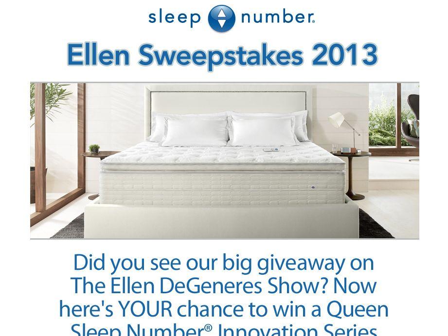 Sleep Number Ellen February 2013 Sweepstakes